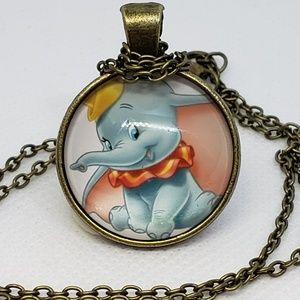 Dumbo Elephant Glass Tile Necklace New